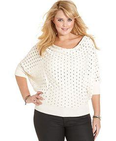 Jessica Simpson Plus Size Sweater, Three-Quarter-Sleeve Open-Knit - Plus Size Tops - Plus Sizes - Macy's