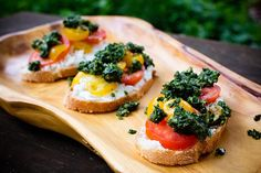 Lambsquarter pesto with cheese and cherry tomatoes