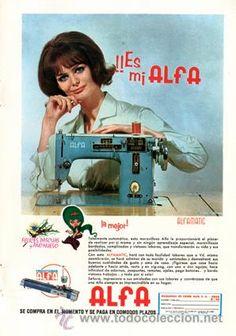 Página Publicidad Original *Máquinas de Coser ALFA · ALFAMATIC · TRICOTOSAS*  -- Año 1965