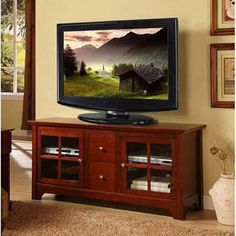 52 Inch TV Stand with Drawers in Brown --- Elegance and function combine to give this contemporary solid wood TV console a striking appearance    #entertainmentfurniture