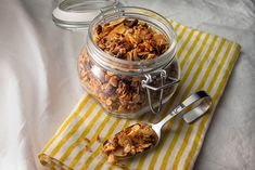 This granola is so good, you may want to just eat it straight from the jar and not bother with milk or yogurt. Good granola in the stores tends to be pretty expensive, and you never get exactly what you want. If you make it yourself, you get to pick everything that goes in it.