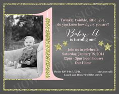Twinkle Twinkle little star invitation- a pink/coral and gold glitter twinkle twinkle little star birthday invitation available for customization- $10