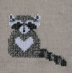 Raccoon Cross Stitch Pattern PDF Forest Animals by TheStitchStash