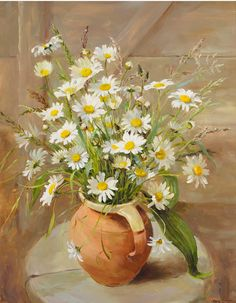 Anne Cotterill:Ox-eye Daisies in an Earthenware Jug.