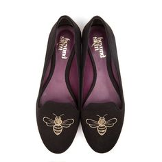 Vegan black embroidered bee shoes from Beyond Skin