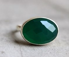 Green onyx ring  Emerald green ring  Faceted ring  by Studio1980, $75.00