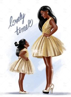Art Black Love, Black Girl Art, My Black Is Beautiful, Art Girl, Clipart Chica, Mom Clipart, Mother And Daughter Drawing, Mother Daughter Fashion, Mom Daughter