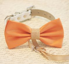 Orange and burlap Dog Bow Tie, Dog ring bearer, Pet Wedding accessory, Burlap Wedding accessory, Rustic wedding idea