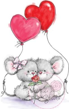 Wild Rose Studio - Wild Rose Studio Ltd. Clear Stamp Set - Mice and Balloons