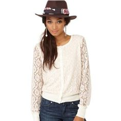Lucky Brand Lace Sleeve Cream Cardigan on Mercari New York Style, My Style, Knit Fashion, Womens Fashion, Lace Cardigan, Lucky Brand, Sweaters For Women, Cute Outfits