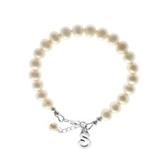 Personalised pearl bridal bracelet with sterling silver initial charm from www.louloubelle.co.uk / sterling silver charm bracelet