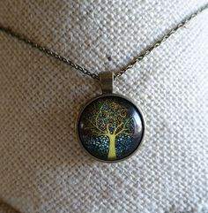 Yellow Tree Of Life Glass Dome Photo Art Cabochon Pendant