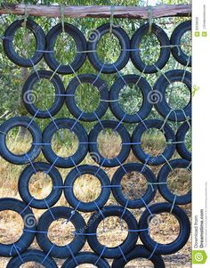 Climbing Wall Made Of Old Used Car Tires Stock Image - Image of outdoor, public: 60238029 , Backyard Obstacle Course, Kids Obstacle Course, Tyre Ideas For Kids, Old Used Cars, Tire Playground, Reuse Old Tires, Reuse Recycle, Tire Craft, Commercial Playground Equipment