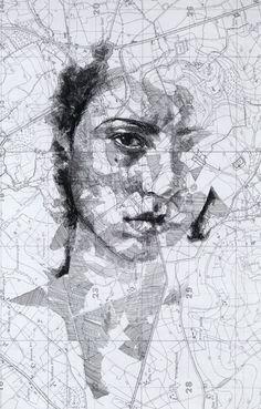 Retrato sobre mapa de Ed Fairburn - Map Portraits
