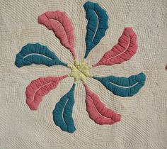 "detail - 1870's Most Stuffed Trapunto Applique Quilt Large Amazing Workmanship | eBay seller rags, both trapunto & quilting best ever seen by seller, few tiny splits on applique, 86"" x 88"", could use a gentle soak."