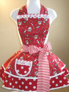 red apron with white polka dots and white trim cute sexy elegant - Christmas Apron