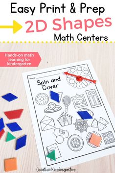 Hands-on math activities to build students' 2D Shape recognition and knowledge. Students explore shapes using a variety of engaging centers and build on their geometry skills. Reinforce shape names, how to make shapes, and seeing shapes in real-world objects. #mathcenter #mathactivity #kindergartenmath #2dshapes #creativekindergarten