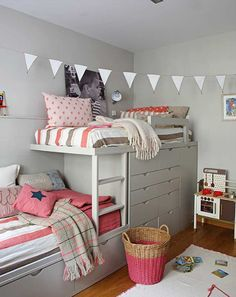 For this large family, a shared bedroom for their youngest kids, a boy and a girl, needed some careful thought. The room needed to be planned so that each had their own individual sleeping area, a place to study, room to play and still have enough space to move around.