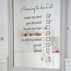 Morning To Do List Mirror Sticker on Etsy, $31.55