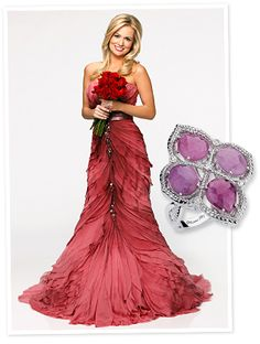 The Bachelorette Emily Maynard wears this beautiful Michael M ring at an ABC photoshoot. The ring features 8 carats of rose sapphires with diamond accents set in silver. Retail price: $930