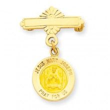 Holy Family Medal Pin in 14k Yellow Gold #ibraggiotti
