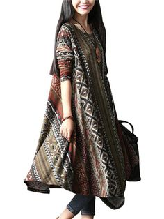 O-Newe Vintage Style Dress Geometric Patterns Printed Long Sleeve Asymmetric Dress