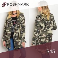 Camo jacket 💯 cotton NWT, true to size. great to combine with combat boots, or simple white sneaker. Autumn is around the corner! Jackets & Coats Utility Jackets