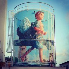 "Fintan Magee - ""Glass Half Full"" - San Juan - Puerto Rico - 2016 #StreetArt #Mural"