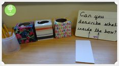A brilliant writing enhancement. I got so many fantastic adjectives out of my class with this enhancement. You will need some tissue boxes and something to fill them with. I changed the contents around throughout the week to keep the. Adjectives Activities, Eyfs Activities, Writing Activities, Classroom Activities, Teaching Resources, Phase 1 Phonics, Continuous Provision Year 1, Ks1 Classroom, Imaginative Writing