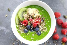 Green Smoothie Bowls Recipe Beverages with spinach, water, avocado, frozen banana, fresh pineapple, peanut butter, seeds, kiwi, raspberries, blueberries, bananas