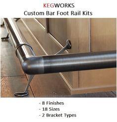 Bar Foot Rail - Create your own Custom Kit - 8 Finishes - 18 Sizes - 2 Brackets #KegWorks