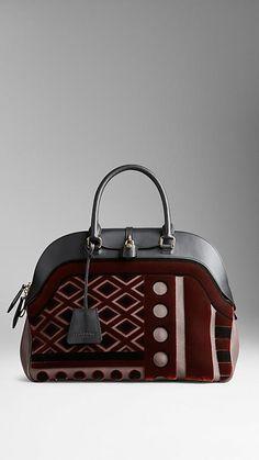 Grand sac bowling en velours et cuir | Burberry
