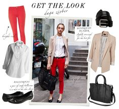 Get the look of polish model Daga Ziober, match skinny bright jeans with a boyfriend blazer. The red jeans makes the outfit pop and they also go great with the beige blazer, an awesome combination for everyday wear!     Pants from Ksubi // Shirt from Lindex // Ballerinas from Aldo // Belt from Day by Birger et Mikkelsen // Jacket from Topshop // Bag from Gina Tricot