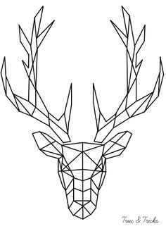 Geometric angular minimalist deer buck with antlers black and white lines