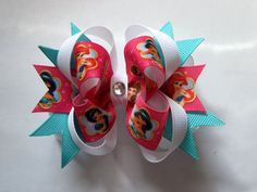 Girls boutique stacked hair bow disney princess ariel by 8BitBows, $5.50