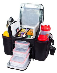 Supports 3 Meals Sports Nutrition Products And Shakers Supplements 2 Gel Packs Sure Seal Containers Shoulder Strap 6 Pack Fitness