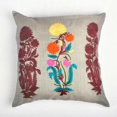 Grey Floral Embroidered Cushion Cover