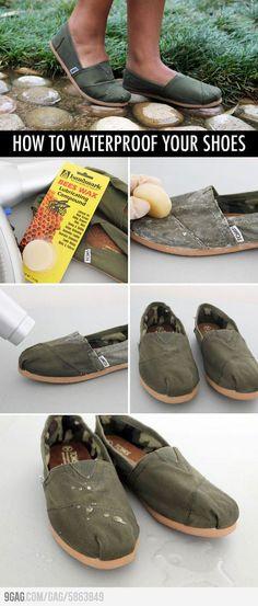 Schuhe Wasserfest machen