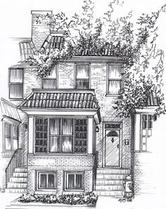 House Architecture Sketch custom house portrait - drawing of house in ink, black and white