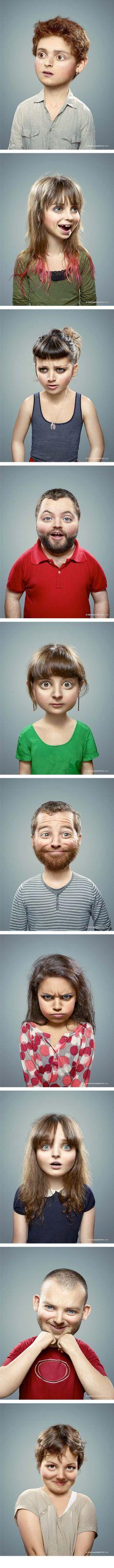 Adultos retocados con Photoshop como si fueran niños