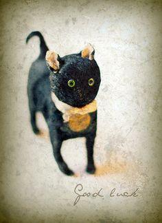 Antique black cat toy