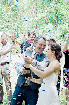 When the bride and groom kissed for the first time after saying their vows, they were showered with beautiful confetti. Brunch Wedding, Farm Wedding, Unique Weddings, Real Weddings, Little River Farms, Georgia Wedding Venues, Wedding Confetti, Whimsical Wedding, Event Venues