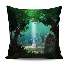 The Legend of #Zelda: A Link Between Worlds 18×18″ throw pillow featuring #Link and the #MasterSword.