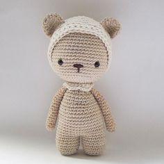 { Trying a beanie on Pemberley... Do you like it? } . #Crochet #CrochetPattern #AmourFou #Amigurumi #Doll #Bear #CrochetBear