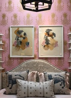 Installation at Harbinger Los Angeles, Royal Pineapple in Pink SL210-01 (Also pictured Tiger & Magpie fabric as pillows)