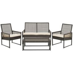 Safavieh Outdoor Living PE Mesh Back Wicker Beige Cushion 4-piece Patio Set - Overstock Shopping - Big Discounts on Safavieh Sofas, Chairs & Sectionals