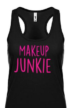 Makup Junkie Black and Pink Tank Top / Younique Tank Top / Younique Presenter / Lashes / Mascara / Makeup / Ask me about my lashes / Handmad