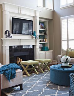 Pinterest Fireplace with TV | tv above fireplace with bookshelves on each side | family room ideas