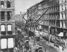 "The Lake St. CTA (Chicago Transit Authority) line under construction, 1895, looking west from Wabash Ave.; site states: ""The steel structure you see here is largely the very same you ride over when on a train going through State/Lake or Clark/Lake, the part of the Loop which opened first, before the full, circuitous route was completed."" (image via @CTAWeb)"