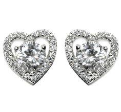 Valeny Heart CZ Stud Earrings | Cubic Zirconia | Silver
